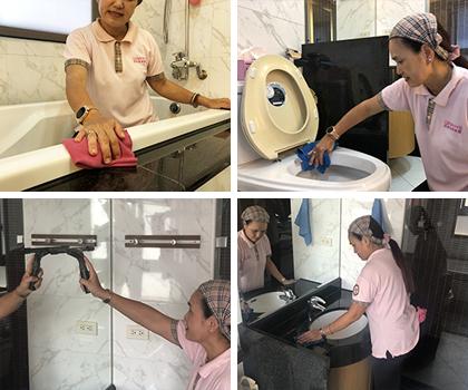 衛浴清潔涵蓋淋浴間清潔、馬桶清潔、洗臉台清潔、浴缸清潔、鏡面清潔、抽風機外觀清潔、浴室收納、廁所收納等項目