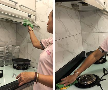 廚房清潔涵蓋廚房收納、抽油煙機、流理台、瓦斯爐台清潔等項目