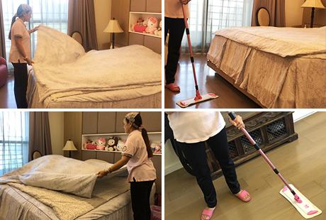 臥室清潔服務涵蓋臥室收納、床鋪清潔、床頭櫃清潔、梳妝台清潔、被單整理、衣櫃擦拭、更衣室清潔等項目
